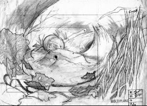 The Secret of NIMH - Layout, Sequence 006, Scene 2 +, the Brisby House.