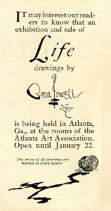 Advertisement -- Orson Lowell: exhibition and sale of life drawings