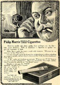 Advertisement -- Philip Morris Original London Cigarettes.