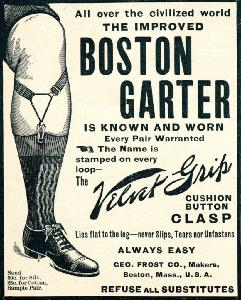 Advertisement -- Boston Garter: leg view.