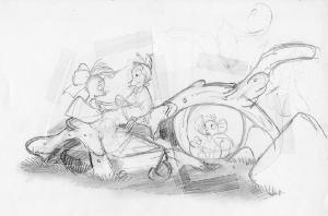 The Secret of NIMH - Pre-Production Sketches, Brisby children and Jeremy