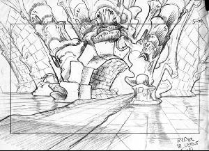 The Secret of NIMH - Layout, Sequence 009, Scene 5, Subterranean Archway.