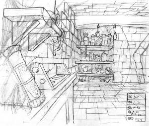 Dragon's Lair - Layout, Sequence 254, Scene D-2, P-1 and G-1