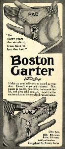 Advertisement -- Boston Garter: hand demonstration.