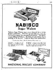 Advertisement -- Nabisco Sugar Wafers.