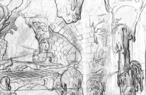 The Secret of NIMH - Layout, Sequence 009, Scene 1, Subterranean Bridge.