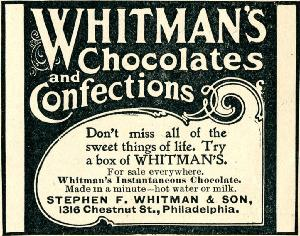 Advertisement -- Whitman's Chocolates and Confections.