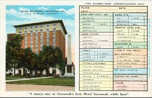 Hotels -- Hotel Savannah Savannah Ga. -- Chas. B. Griner Manager Time Savers -- Easy Correspondence Card