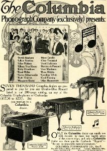 Advertisement -- Columbia Phonograph Company (Columbia Records)..