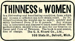 Advertisement -- Cause and Cure of Thinness