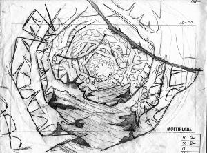 The Secret of NIMH - Layout, Sequence 008, Scene 2, Rosebush Entryway.