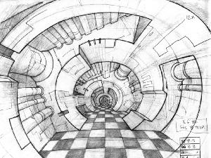 Space Ace - Layout Sequence 029, Scene B-3 Checkered Hallway.