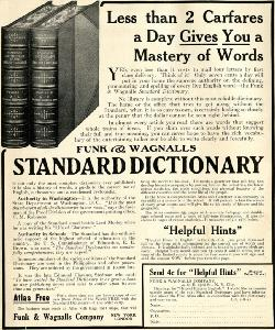 Advertisement -- Funk & Wagnalls Standard Dictionary.